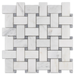 """Pearl White Extra Large Basketweave with 5/8"""" Pacific Gray Dot (honed)"""