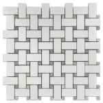 """White Thassos with 3/8"""" Ming Green Dot (polished)"""
