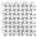 """White Thassos with 3/8"""" Pacific Gray Dot (polished)"""